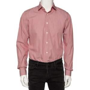 Prada Red Striped Cotton Button Front Shirt M