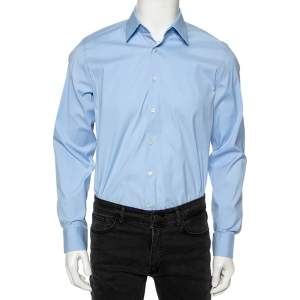 Prada Sky Blue Cotton Button Front Shirt L