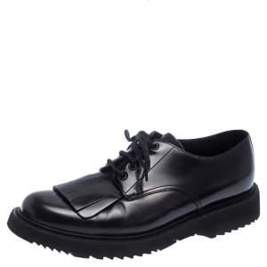 Prada Black Patent Leather Fringe Oxford Size 42.5