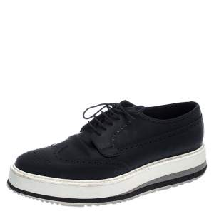 Prada Black Brogue Leather Trainer Lace Up Derby Sneakers Size 42