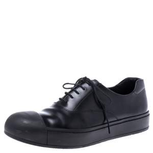 Prada Black Leather And Rubber Cap Toe Lace Up Oxfords Size 41