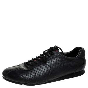 حذاء رياضي برادا سبورت بحافة منخفضة برباط جلد مثقب أسود مقاس 41.5