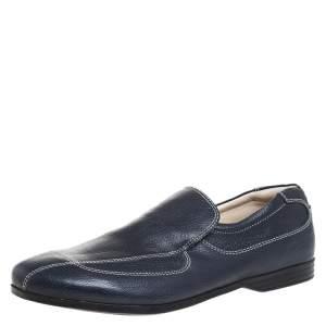 حذاء لوفرز برادا فيونكة جلد أزرق مقاس 41