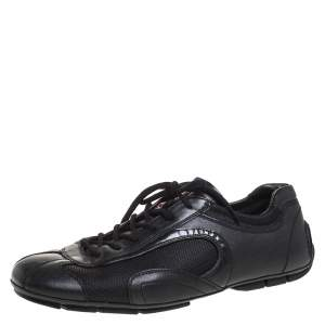 Prada Sport Black Leather And Mesh Lace Up Low Top Sneakers Size 42
