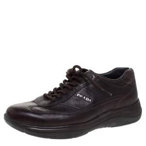 Prada Brown Leather Lace Up Sneaker Size 40