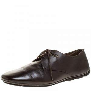 Prada Dark Brown Leather Lace Up Derby Size 41