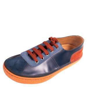 Prada Blue Leather And Suede Low-Top Sneakers Size 42