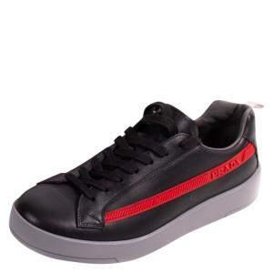 Prada Black Leather Low Top Sneakers Size 42