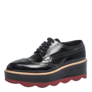 Prada Black Brogue Leather Wave Wingtip Platform Derby Sneakers Size 37.5
