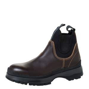 Prada Brown/Black Leather and Neoprene Chelsea Ankle Boots Size 41