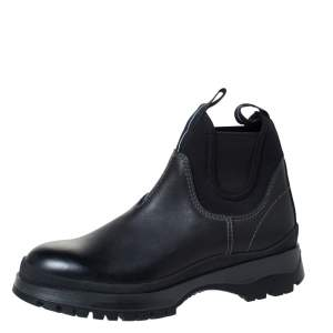 Prada Black Leather and Neoprene Chelsea Ankle Boots Size 41.5