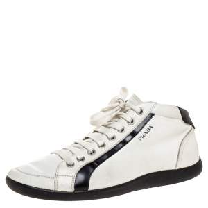 Prada Sport White/Black Leather Mid Top Sneakers Size 43