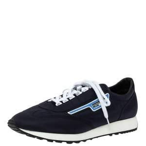 Prada Dark Blue Nylon Logo Embellished Lace Up Sneakers Size 43