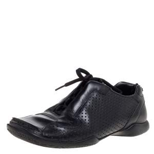 Prada Black Perforated Leather Square Toe Sneakers Size 41