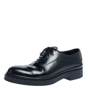 Prada Black Leather Wing Tip Lace Up Oxfords Size 45