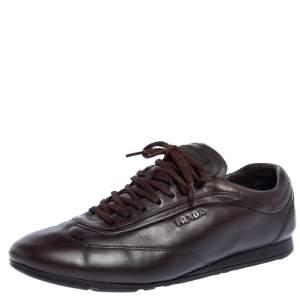 حذاء رياضي برادا سبورت جلد بني داكن منخفض من أعلى أربطة مقاس 43
