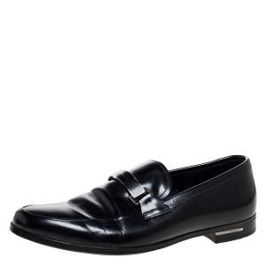 حذاء لوفرز برادا بادج بيت بشعار جلد أسود مقاس 40
