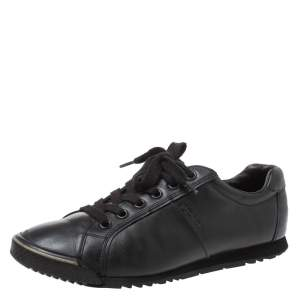 Prada Sports Black Leather Lace Low Top Sneakers Size 42