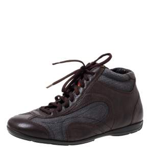 Prada Brown/Grey Leather And Mesh High Top Sneakers Size 40