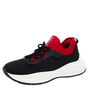 Prada Black/Red Mesh and Neoprene Low Top Sneakers Size 44