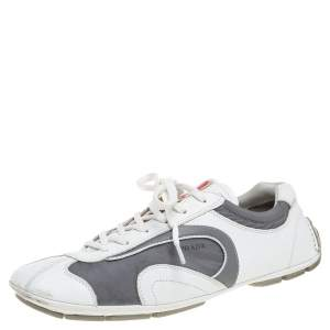 Prada White/Grey Leather and Nylon Low Top Sneakers Size 42