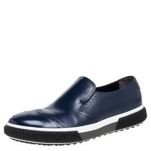 Prada Blue Leather Brogue Slip -On Sneakers Size 44