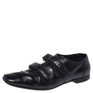 Prada Black Leather Velcro Loafers Size 43