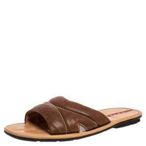 Prada Sports Brown Leather Flat Slide Sandals Size 42