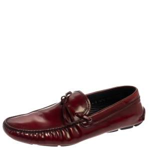 Prada Two Tone Leather Bow Slip On Loafers Size 44.5