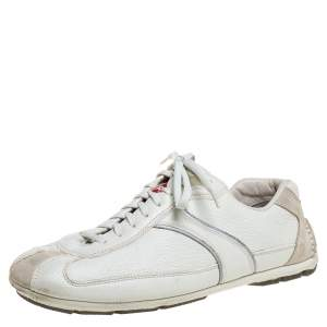 Prada Off White Leather Lace up Sneakers Size 41
