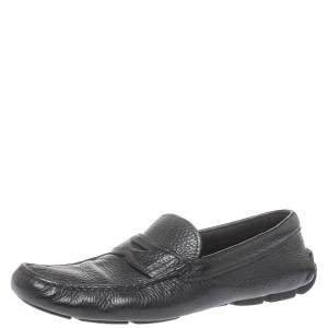 Prada Black Leather Slip On Loafers Size 41