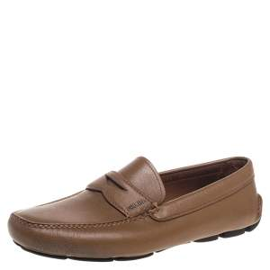Prada Tan Leather Slip On Loafers Size 42.5