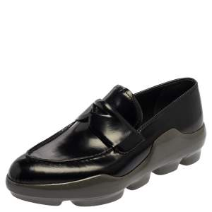 Prada Black Leather Slip On Loafers  Size 38