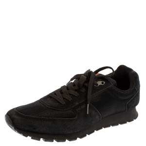 Prada Black Suede/Mesh Low Top Lace Up Sneakers Size 46