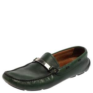 Prada Green Leather Slip On Loafers Size 42.5