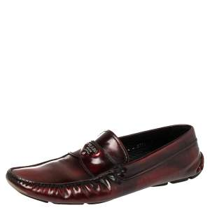 Prada Burgundy Leather Slip On Loafers Sze 42