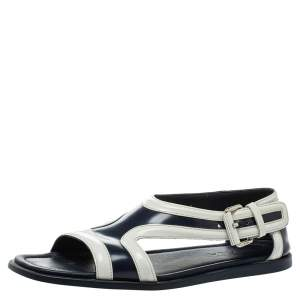 Prada Blue/White Leather Cutout Slide Sandals Size 43