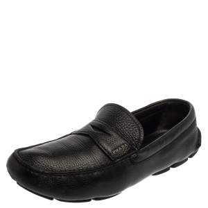 Prada Black Leather Penny Slip On Loafers Size 45