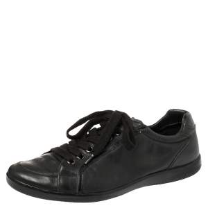 Prada Sports Black Leather Low Top Sneakers Size 44