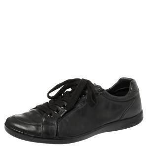 حذاء رياضي برادا سبورد جلد أسود عنق منخفض مقاس 44