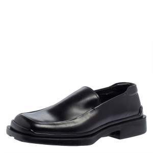Prada Black Leather Platform Loafers Size 42