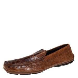 حذاء لوفرز برادا سليب أون جلد تمساح بني مقاس 42