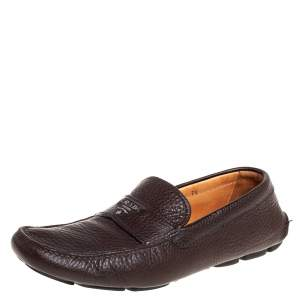 Prada Brown Leather Slip On Loafers Size 41.5