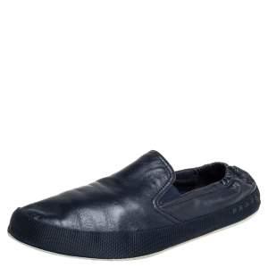 Prada Blue Leather Slip On Sneakers Size 43.5