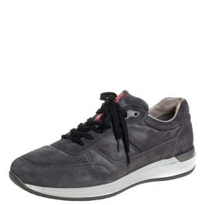 Prada Grey Suede Low-Top Sneakers Size 43