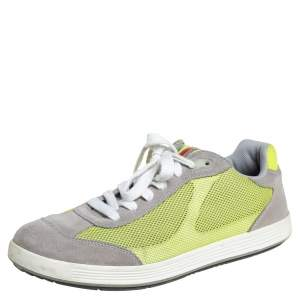 Prada Grey/Neon Green Suede and Mesh Lace Up Low Top Sneakers Size 43