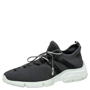 Prada Grey Knit Fabric Logo Low Top Sneakers Size 41