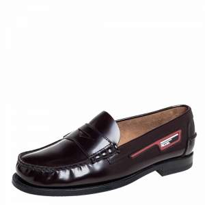 Prada Burgundy Leather Penny Slip On Loafers Size 40