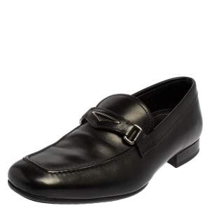 Prada Black Leather Penny Loafers Size 40