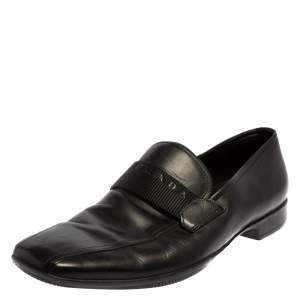 Prada Black Leather Slip On Loafers Size 42.5